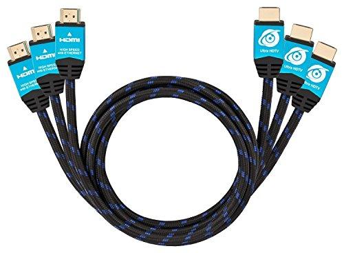 Ultra HDTV Premium 4K HDMI Kabel 3x 1m / HDMI 2.0b, 4K bei vollen 60Hz (keine Ruckler), HDR, 3D