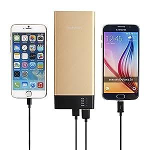 Abusun capacità elevata 20000mAh Banca di potere di USB portatile banca caricatore del telefono caricabatteria pacchetto esterno per iPhone 6s 6 Plus 6 5S Samsung Galaxy S3 S4 S5 S6 e Altro Altri dispositivi USB-Dorato