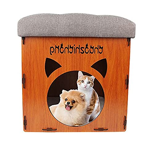 New arrival NPET 2-In-1 Washable Cat House Indoor Detachable Pet Cat Dog Kennel Bed Foot Stool - Grey Removable