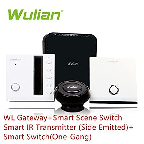 WuLian SmartThings Home Monitoring Kit Package Including Gateway,Smart Scene Switch And IR Transitter,Smart Switch Controled by Mobile Phone Ipad …
