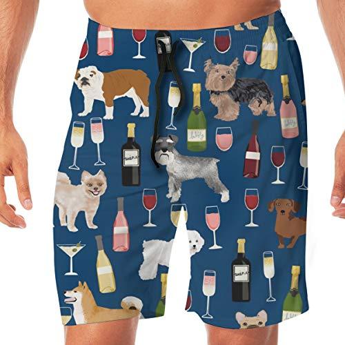 Hunde und Wein Stoff - Rotwein, Weißwein, Rose, Champagner sprudelnde Hunde Fabric_406 Männer Badehose surfen Strand Urlaub Party Badeshorts Strandhosen XXL