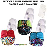 Superbottoms Plus UNO + Free 2 Fleece Liners Diapers Shells + 3 Dry Feel Organic Cotton Soakers + 3 Organic Cotton Boosters + 2 Free Fleece Liners, One Size (Pack of 3)