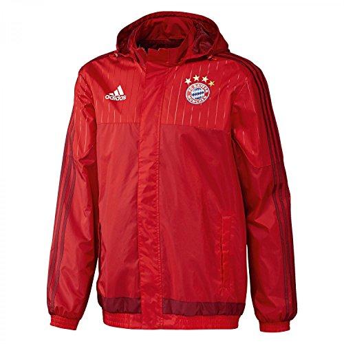 Adidas-Giacca impermeabile da uomo Bayern München, Uomo, FC Bayern Regenjacke, Fcb True Red/Craft Red F12, XS