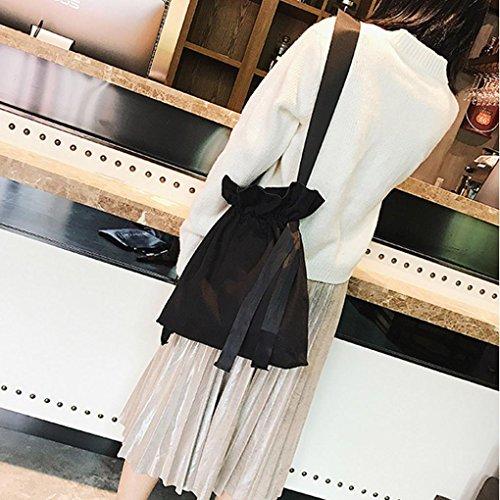 Zarupeng Frauen Art und Weise Einfarbig Segeltuch Rucksack Einkaufen Reise Drawstring Beutel Schwarz