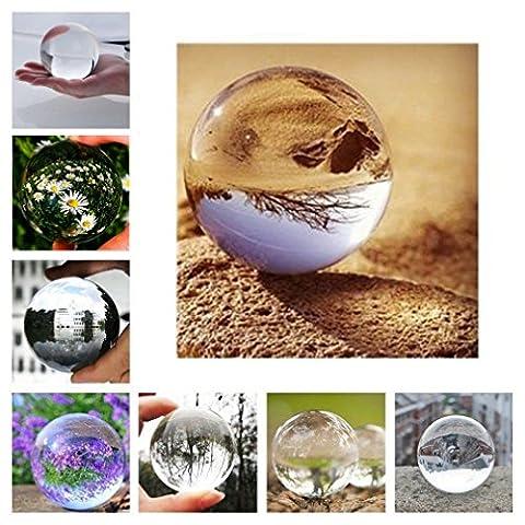 OCDAY® Glaskugel,Glaskugeln klar Kristallkugeln für deko/fotografie/wahrsager/meditation/murmeln/Feng Shui/Hause/Büro Dekoration/Hochzeit, handpoliert Ohne Lufteinschlüsse(100mm)