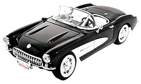 Chevrolet Corvette, noire/blanche, 1957, voiture miniature, Miniature déjà montée, Lucky - Cast