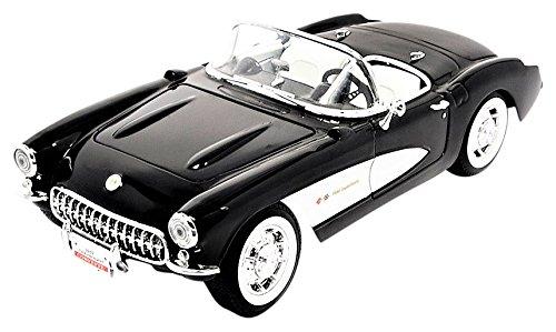 chevrolet-corvette-noire-blanche-1957-voiture-miniature-miniature-deja-montee-lucky-cast-118