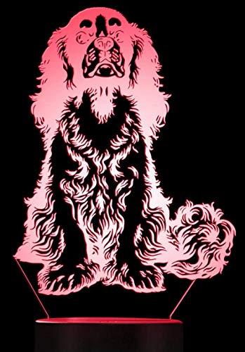 Led Bureau Table Lampe Lumière De Nuit 3D Cavalier King Charles Spaniel Race De Chien Led Lampe De Table Night Light Adorable Chien Chiot Animal 3D Optical Illusion Light Lampe Visuelle Cadeau Spécia