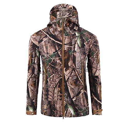 Yuandian uomo tattico militare caccia softshell giacche impermeabile vento pile fodera escursionismo campeggio giubbini con cappuccio sci alpinista cappotti foglie morte camuffamento l