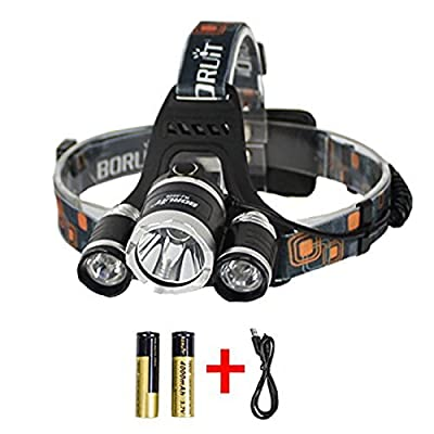 Boruit Rechargeable LED Head Torch Light with 4 Modes, 6000 lumens Waterproof Headlamp, 3* XM-L T6 Adjustable Headlight Flashlight Head Lamp for Camping Hunting Hiking Running Walking Bicycling Outdoors Light