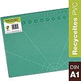 OfficeTree Tappetino Da Taglio - 90x60 cm (A1) verde - Cutting Mat - Reticolo e marcature su entrambi i lati, per tagli di livello professionale - PVC a 3 strati riciclabile
