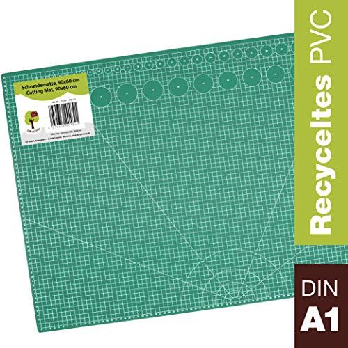 OfficeTree® Schneidematte - 90x60 cm (A1) grün - Cutting Mat mit beidseitigen Rastern und Markierungen für professionelle Schnitte - PVC 5-lagig recycelbar - selbstheilende Oberfläche