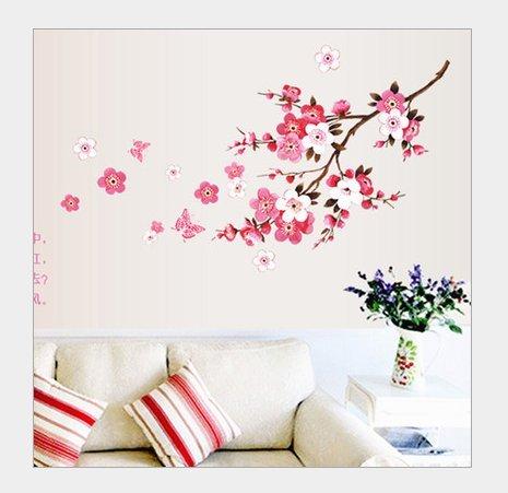 Adesivi murali fiore di pesco adesivi da parete amovibile decorazione per muri 45 * 60cm