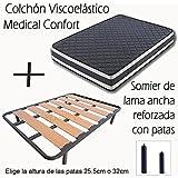 SOMIER DE LAMA ANCHA REFORZADO CON TACOS ANTI-RUIDO Y 4 PATAS DE 32CM + COLCHÓN VISCOELÁSTICO DOBLE CARA MEDICAL CONFORT-90x190cm