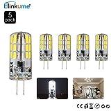 ELINKUME 5X G4 3W LED Lampe Beleuchtung, LED Birnen 240LM Kaltweiß AC/DC 12V, 6500K,Ersetzt 25W Halogenlampe