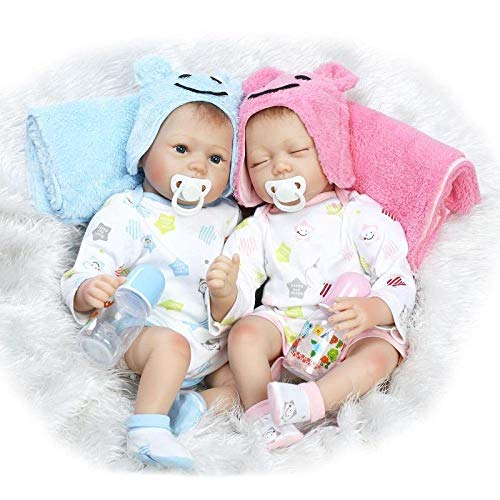 HSDDA Puppenkissen Simulation Baby Baby Dolls Nette Realistische Handgemachte Silikon Baby Baby Weiche Puppe Magnetischen Mund 22 Zoll 55 cm, Zwillinge Cartoon-Plüschkissen (Farbe : Twins)