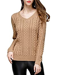 ELLAZHU Femme Automne Hiver Col V Manche Longue Finition Tricot Pull YY07