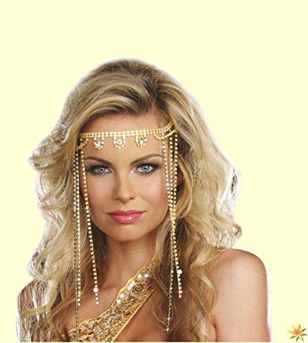 Kopfschmuck Bollywood, Cleopartra, Orientalische Stirnbandkette (Aphrodite Schmuck Kostüm)