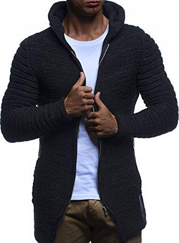 LEIF NELSON Herren Jacke Hoodie Strickjacke Pullover Kapuzenpullover Jacke Sweatjacke Zipper Sweatshirt Strick LN20731; Gr_¤e M, Schwarz