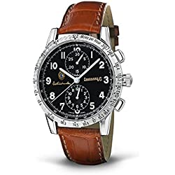 Men Eberhard 31038CP Automatic Steel quandrante Black Leather Strap Watch