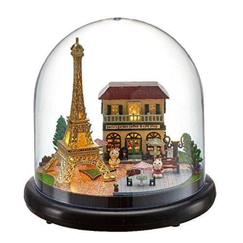 Mini verre bricolage Dollhouse en bois Kit Assemblage modèle 3d Puzzle Décoration de maison Afficher Creative Handicraft Jouets Bâtiment cadeau pour enfant(Paris Pyramide)