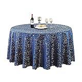 ZEQUAN Mantel Azul Marino Brillante Tela de Seda decoración Redonda Comedor Silla paño/TV Armario paño/Mesa de café (Size : Diameter300cm)