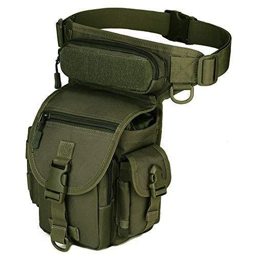 Imagen de huntvp bolsa de pierna bolsa táctical militar impermeable para correr senderismo ciclismo camping caza, negro/verde/marrón/camuflaje alternativa