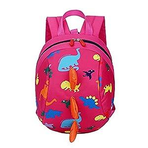 51AVxfY2BxL. SS300  - Gwanna Mochila Escolar Unisex clásica, Patrón de Dinosaurio de Dibujos Animados creativos Mochila de niños Preescolar Mochila (Rosy)