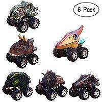 Aolvo Juego de 6 Juguetes de Dinosaurio para Coches de 3 a 14 Años con Rueda de neumático Grande, para Niños de 3 a 14 Años