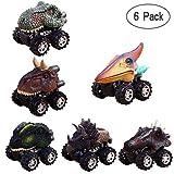 Aolvo 6-Pack mit Dinosaurier-Spielzeugtrucks, Fahrzeuge mit Rückzugsantrieb und großem Reifenrad, Kreativität für 3-14-jährige Kinder, Autos, Kindergeburtstagsgeschenk 6pack Dinosaur Cars