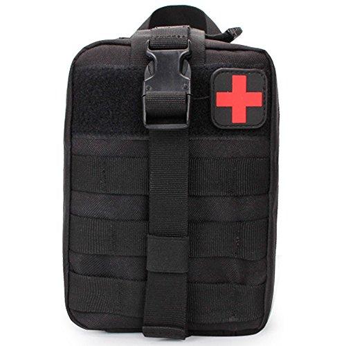 YooGer Erste-Hilfe-Tasche, Leeren Tactical Medical Pouch EMT Notüberlebens Kit Outdoor Travel Molle Für Medizinische Mehrzweck Taille Pack Military Utility Kit. (Schwarz)