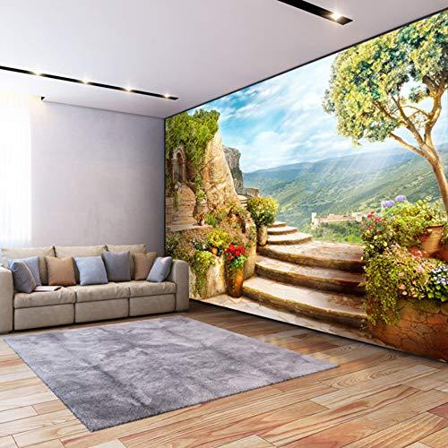VVNASD 3D Dekorationen Tapete Aufkleber Wand Wandbilder Europäischer Garten Natur Landschaftsschlafzimmer Wohnzimmer Hintergrund Kunst Kinder Schlafzimmer (W) 200X(H) 140Cm -