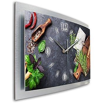 Olive Natur Küchenuhr Designer leise Funk Wanduhr Funkuhr modernes ...