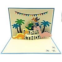 Tarjeta de cumpleaños perfecta para un amante del dinosaurio. Tarjeta única, colorida y divertida
