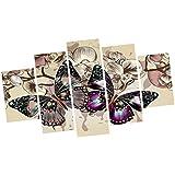 MagiDeal 5pcs Decoración de Pared Mariposa Cuadro de Pintura Arte Lona - #A
