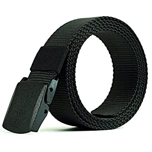 Men Belt BOMPOW Nylon Canvas Belts Breathable Military Tactical Men Waist Belt With Plastic Buckle Black