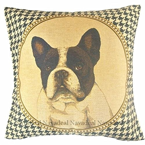 damuyas Französische Bulldogge Chevron Kissen Fall Home Decor Werfen Kissenbezüge Kissenbezug, baumwolle, bulldog 3#, Size: 42*42cm/16.53*16.53 -