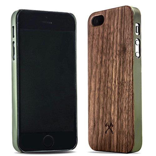 Woodcessories - EcoCase Classic - Premium Design Case, Cover, Hülle für das iPhone aus FSC zert. Holz (iPhone 5/ 5s/ SE, Walnuss/ grün)