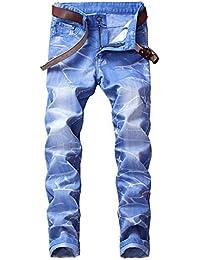 Dihope Homme Vintage Rétro Jeans Pantalon de Travail Militaire Cargo Pants Casual Trousers en Denim sans Ceinture