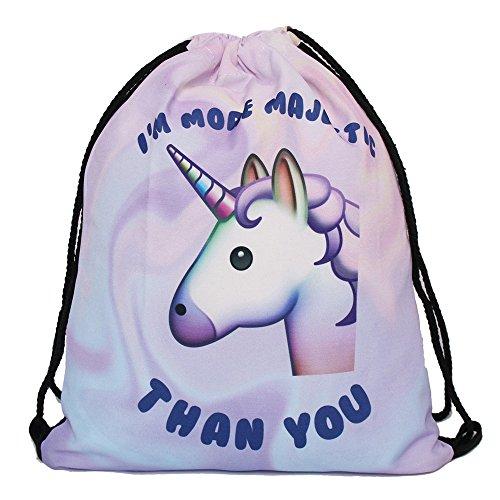 Imagen de leah de fashion® de perro y kitty unicornio cordón  bolsa con cuerda 3d sackpack para niños 39cm * 30cm , unicorn alternativa