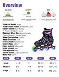 2pm Sport Vinal Viola Pattini Inline Regolabili, tutte le Ruote LED, Inline skates per ragazze e donne, Inizia Roller Skating Oggi!