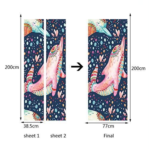 Wandtattoos & Wandbilder 77X200 Cm 3D Tier Cartoon Shark Selbstklebende Türaufkleber Tapete Poster Wandaufkleber Wohnzimmer Wohnkultur Wandbild