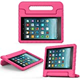 MoKo Nuevo Amazon Fire 7 2017 Funda ( 7 pulgadas, 7ª generación) - Portátil Shock Proof Lightweight Kids Protector Parachoque Cover Case con Manija para All-New Fire 7 Tableta, Magenta