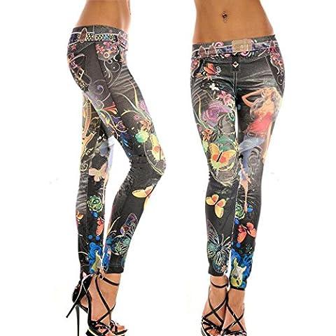Amlaiworld Mode Damen Jeans Skinny Jeggings Stretch dünne Gamaschen Soft Pants (Schwarz, freie Größe)