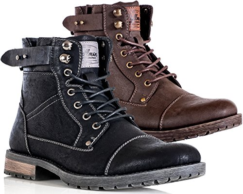 Mens-Ankle-Boots-Faux-Leather-Smart-Casual-Classic-Combat-Lace-Up-Zip-Shoe