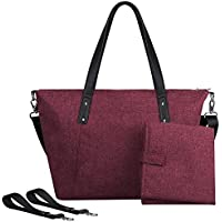 S-ZONE Baby Diaper Large Tote Bag Handbag Anti-water with Changing Pad and Stroller Straps (Wine Red)