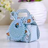 6,5 * 3,8 * 8cm Bauchtasche Stilvoll Sigkeiten Box Geschenk Verpackungsbox zum Gast Babydusche Geburtstag Cupcake Box (48pcs Blau+48pcs Rosa)
