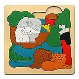 Jouet en Bois Wooden Toy Puzzle en Bois Jouet Educationnel pour Enfant Jouet Puzzle Casse-tête Animaux Africains Foret Eléphant Oiseau Lion Léopard