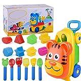 dadahuam set di giocattoli per la spiaggia di sabbia, giocattoli per il trasporto all'aperto di giocattoli trolley 14 pala di sabbia e stampi per bambini con custodia da spiaggia