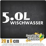 5.0 Wischwasser 20 x 6 cm IN 15 FARBEN - Neon + Chrom! Sticker Aufkleber